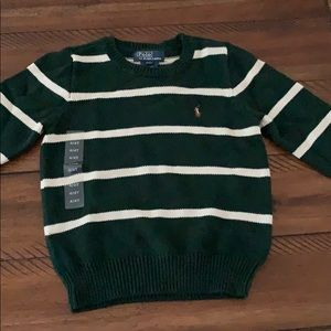 Pole Ralph Lauren Green Striped Crew Neck Sweater